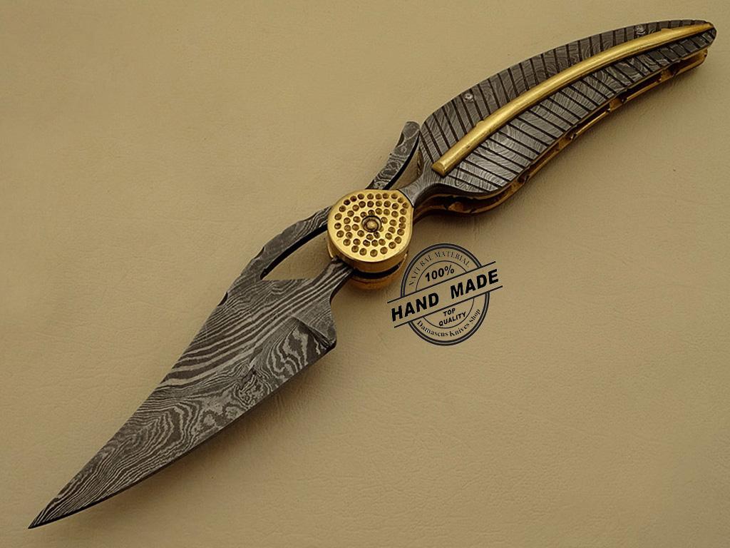 Damascus Pocket Knife Custom Handmade Damascus Steel