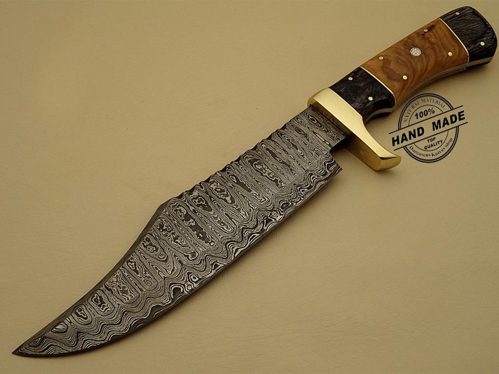 Rambo Damascus Bowie Knife Custom Handmade Damascus Steel