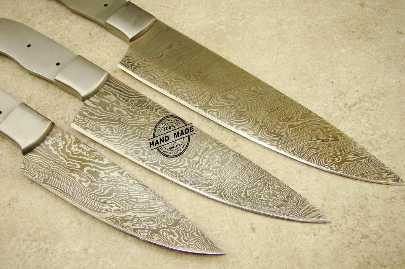 lot of 3 pcs professional chef knife blank blade custom handmade. Black Bedroom Furniture Sets. Home Design Ideas