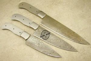 Damascus Kitchen Blank Blade Knives