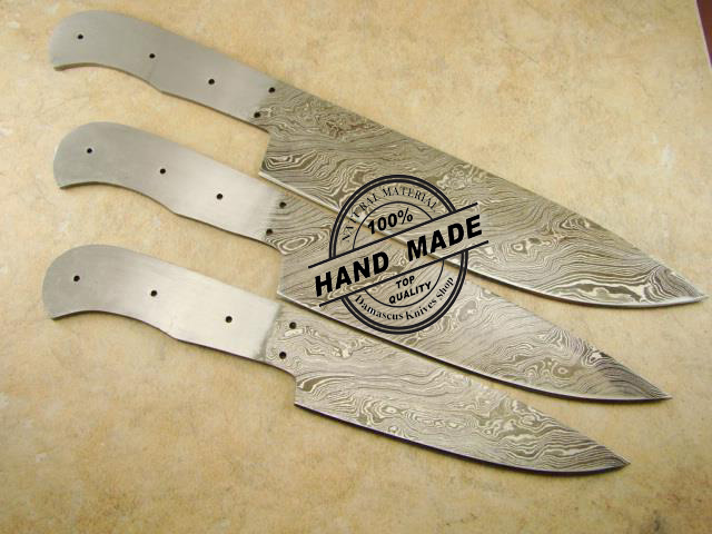 lot of 3 pcs professional kitchen chef's knife blank blade custom
