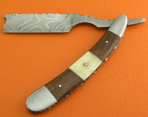 Damascus Folding Razor Knife 14