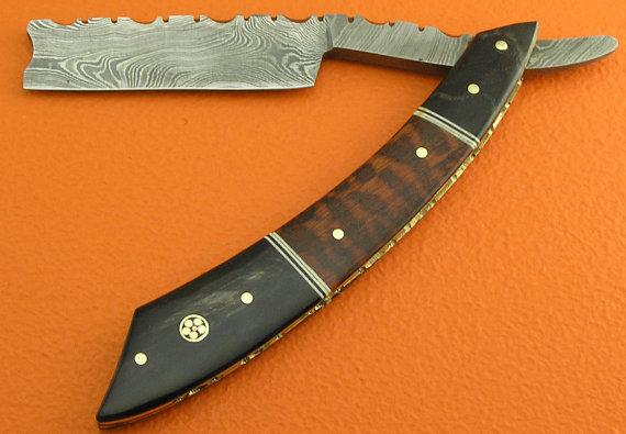 Damascus Folding Razor Knife