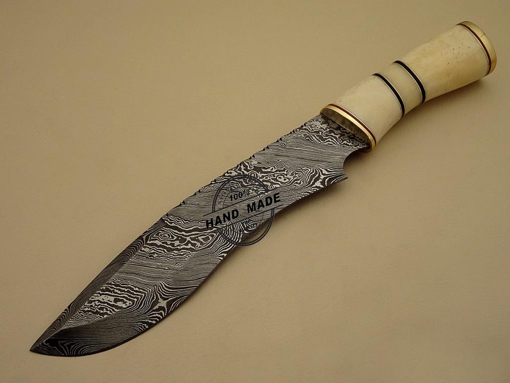 Damascus Bowie Knife Custom Handmade Damascus Steel ...