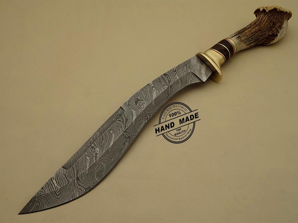 Damascus Kukuri Knife Custom Handmade Damascus Steel Hunting