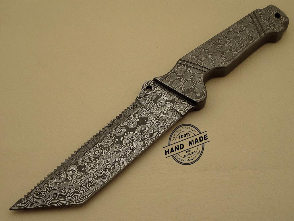 Full Damascus Tracker Knife Custom Handmade Damascus Steel