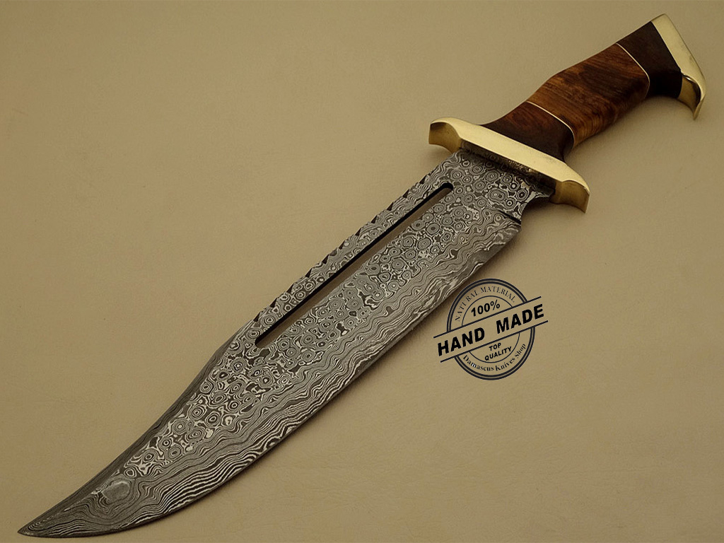 Best Damascus Rambo Bowie Knife Custom Handmade Damascus Steel