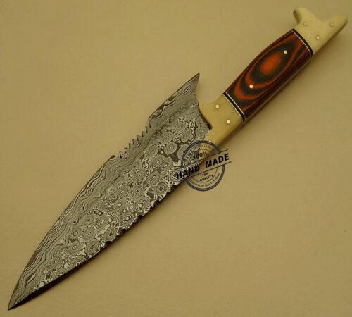 Damascus Kitchen Chef's Knife Custom Handmade Damascus