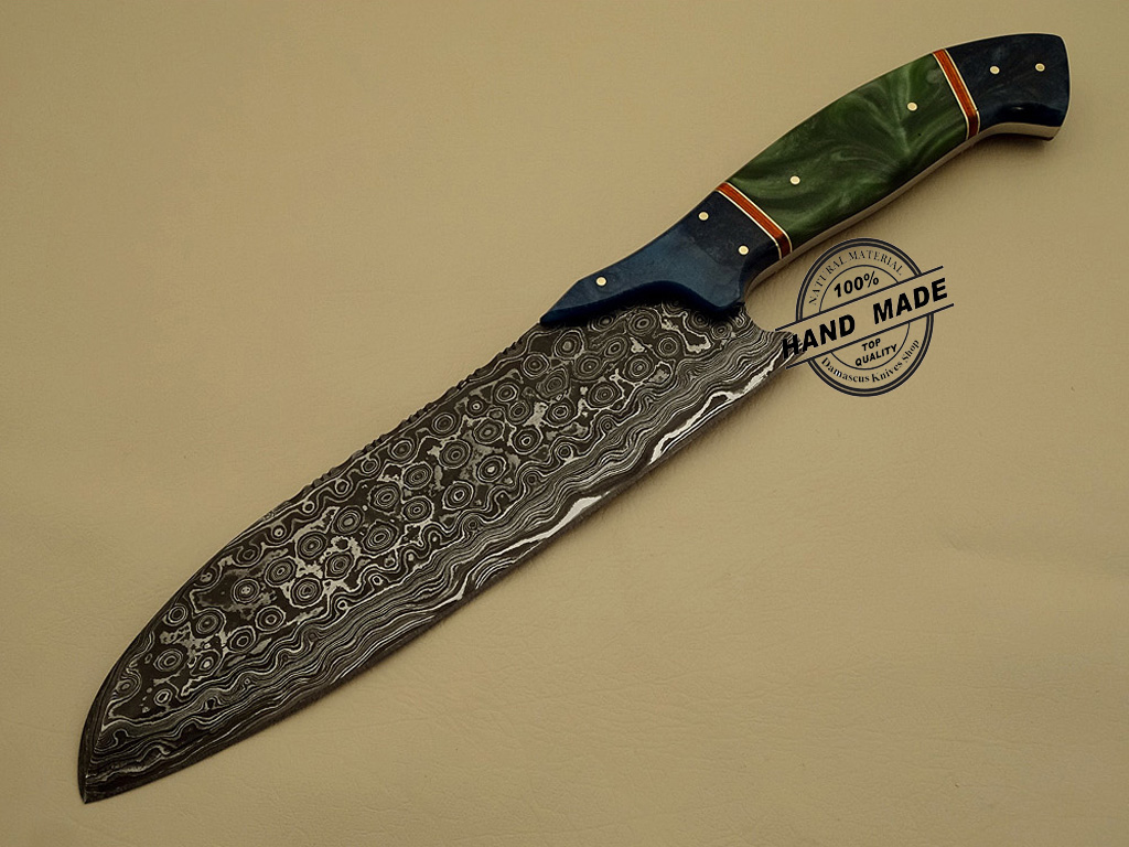 Damascus Kitchen Knife Custom Handmade Damascus Steel Kitchen Chef's Knife  Leather Sheaths 1203
