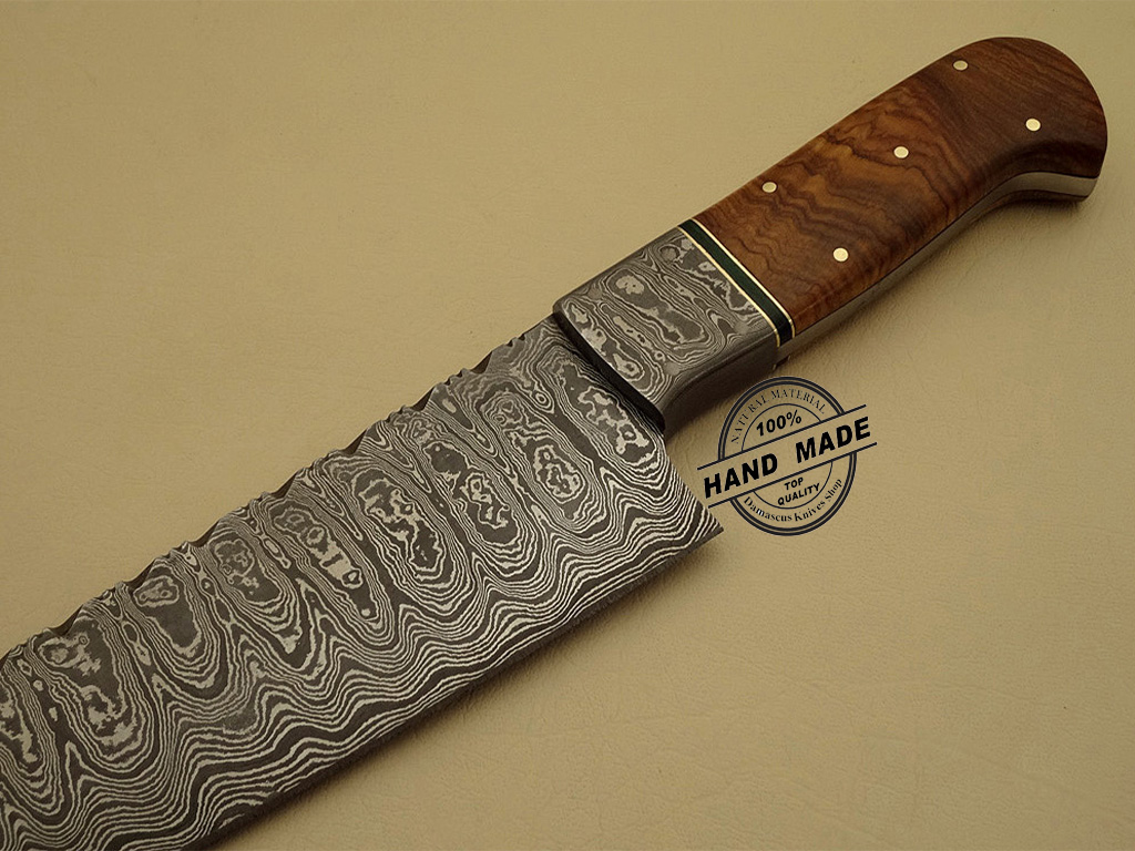 professional damascus kitchen chef s knife custom handmade knife kitchen damascus chef s knife with olive wood handle leather sheaths 1202