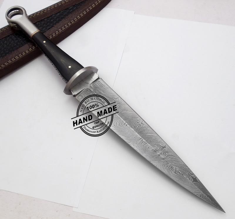 New Damascus Swiss Dagger Knife Custom Handmade Damascus Steel