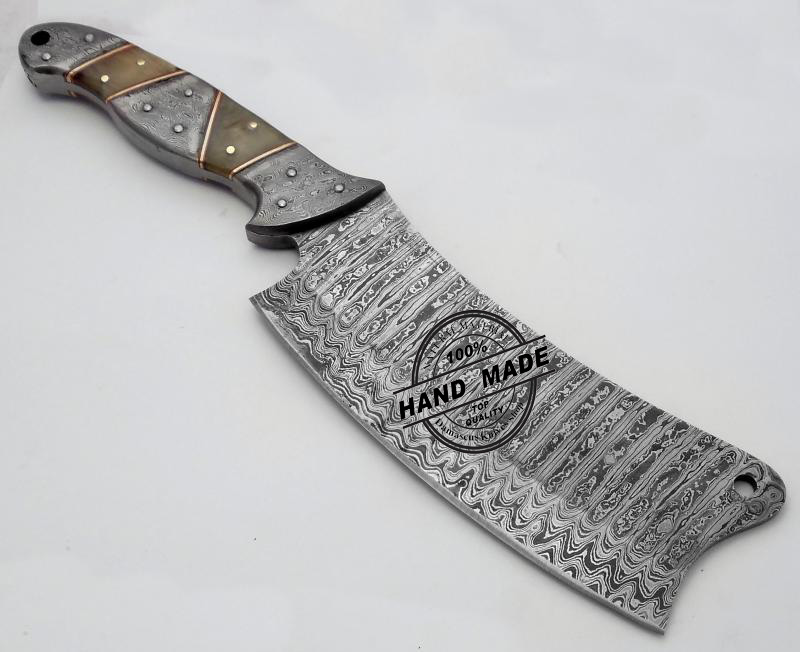 Amazing Damascus Chef's Cleaver Knife Custom Handmade Damascus