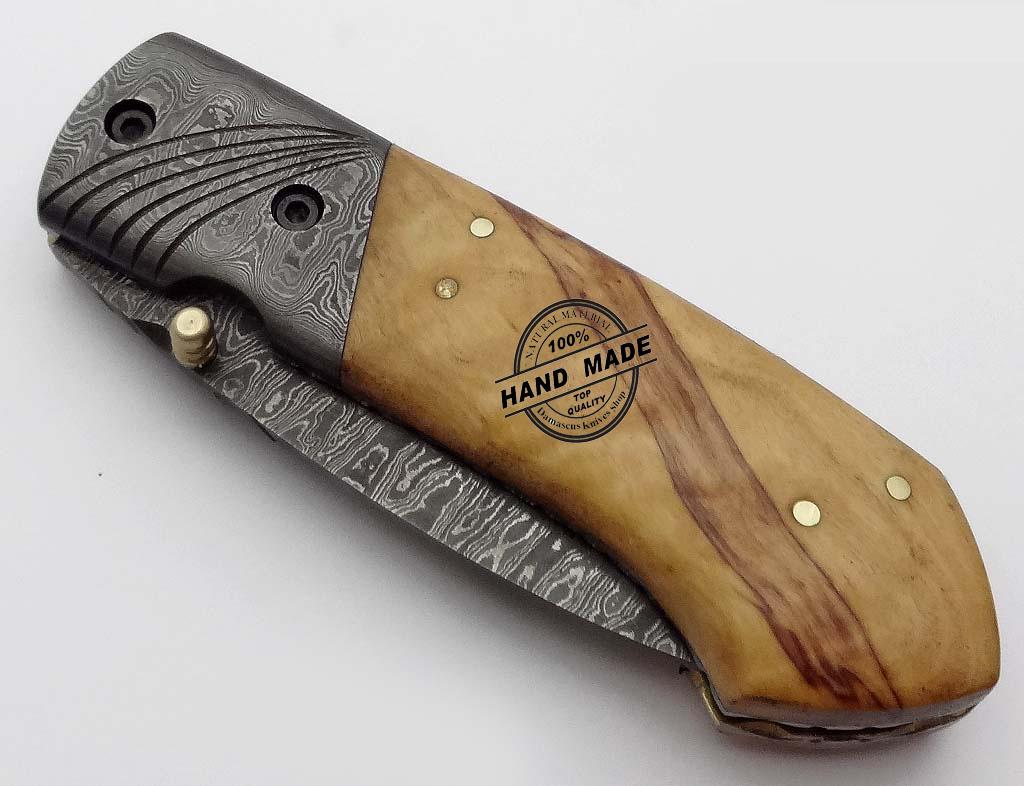 Damascus Folding Liner Lock Knife Custom Handmade Damascus