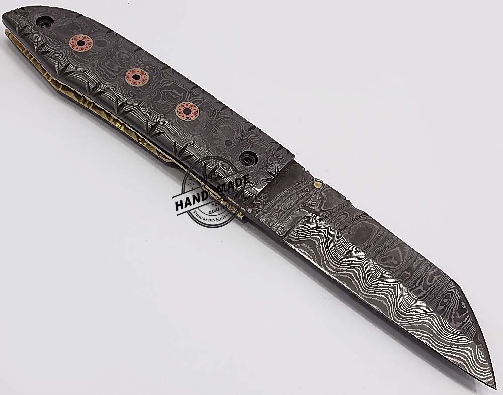 Custom Handmade Damascus Steel Folding Knife Car