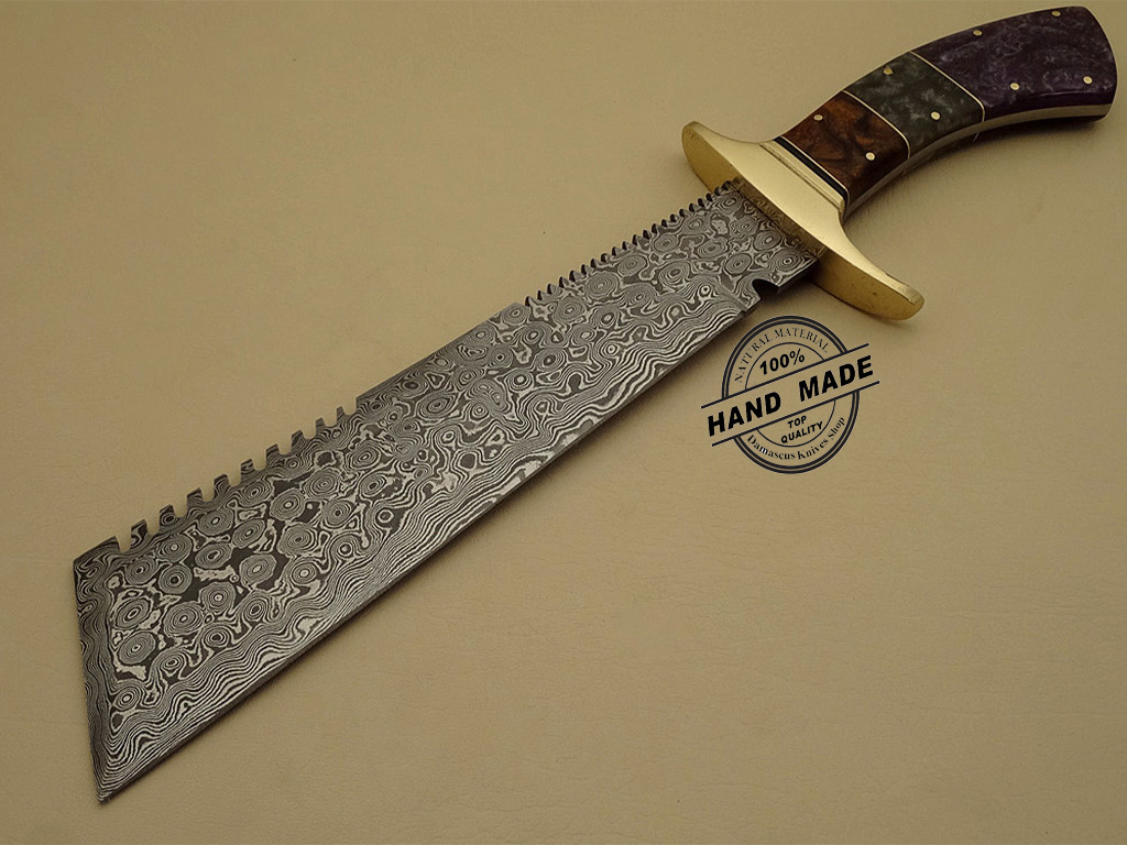 Best Damascus Chopper Bowie Knife Custom Handmade Damascus