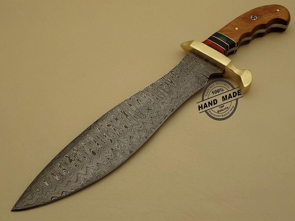 Professional Damascus Bowie Knife Custom Handmade Damascus ...