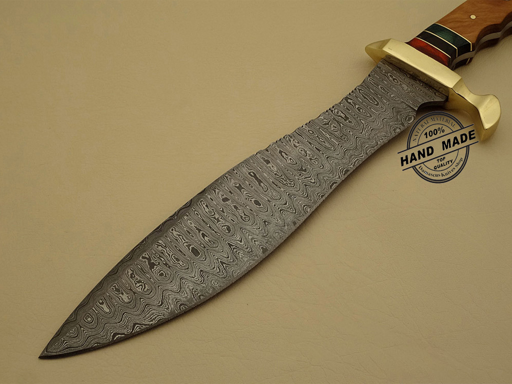 Damascus Steel Kitchen Knife Professional Damascus Bowie Knife Custom Handmade Damascus ...