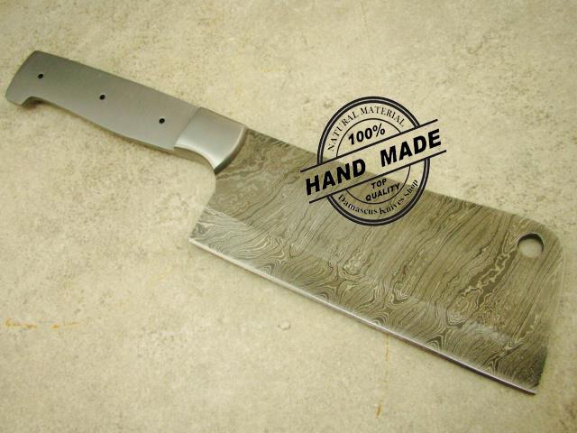 12 damascus butchers cleaver chef s blank blade custom handmade damascus steel kitchen. Black Bedroom Furniture Sets. Home Design Ideas