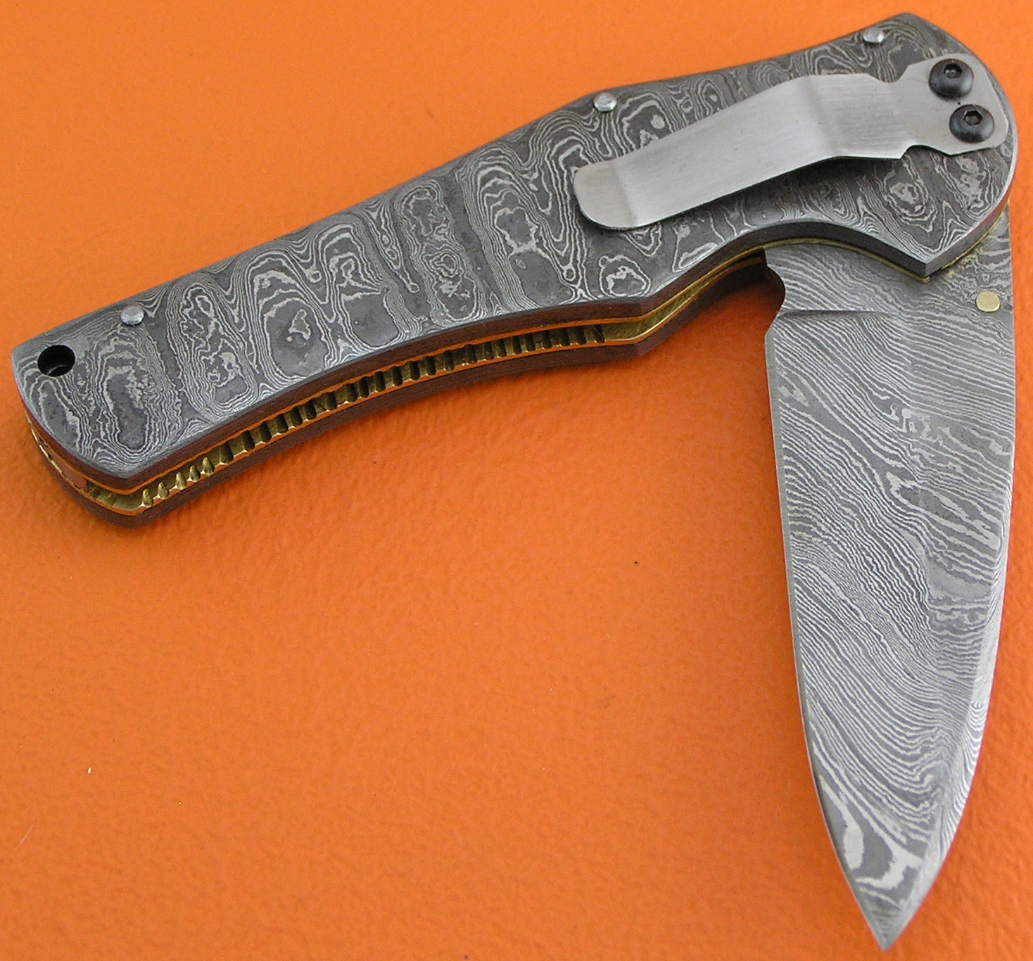 ... Damascus Folding Knife Belt Clip Handle With Leather Sheaths 1935.    e310ae1eaef4