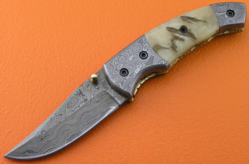 Damascus Folding Knife Liner Lock 498
