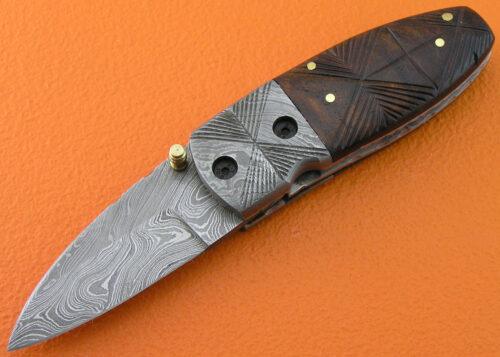 Damascus Folding Knife Liner Lock 534