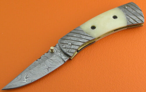 Damascus Folding Knife Liner Lock 542