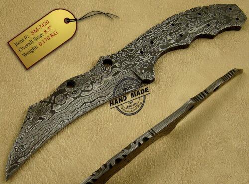 Damascus Blank Blade Knife 123