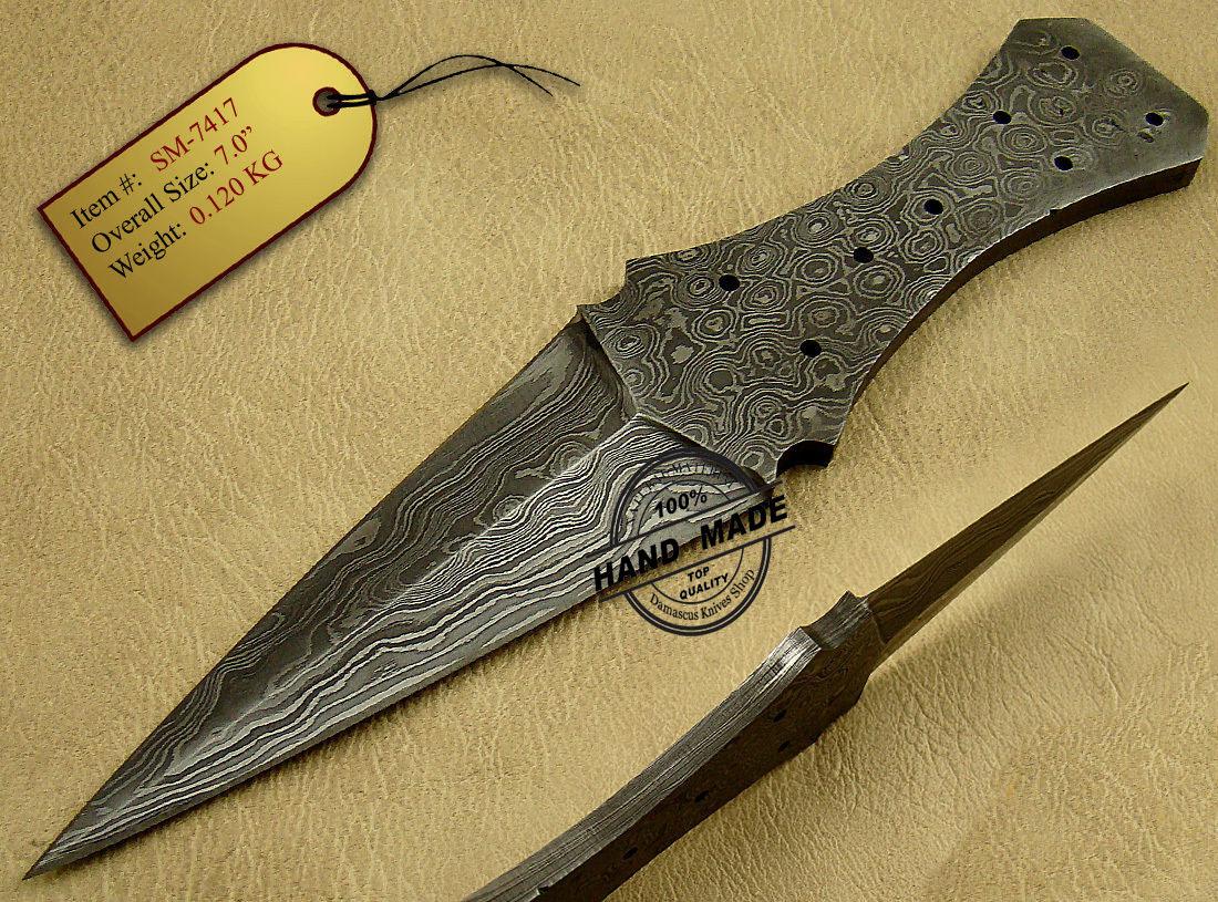 Double Edge Damascus Skinner Blank Blade Knife Custom