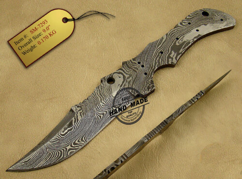 Damascus Blank Blade Knife 138
