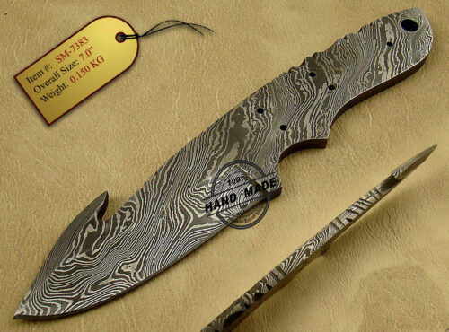 Damascus Blank Blade Knife 143