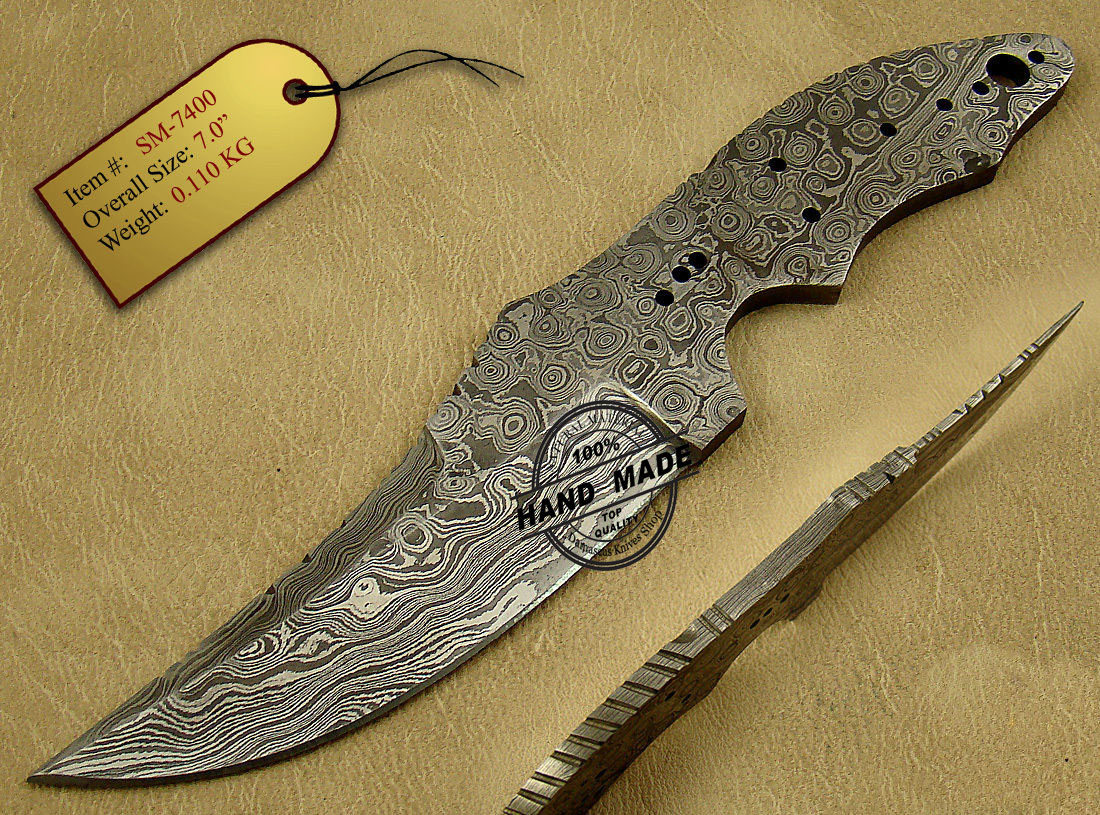 Damascus Skinner Blank Blade Knife