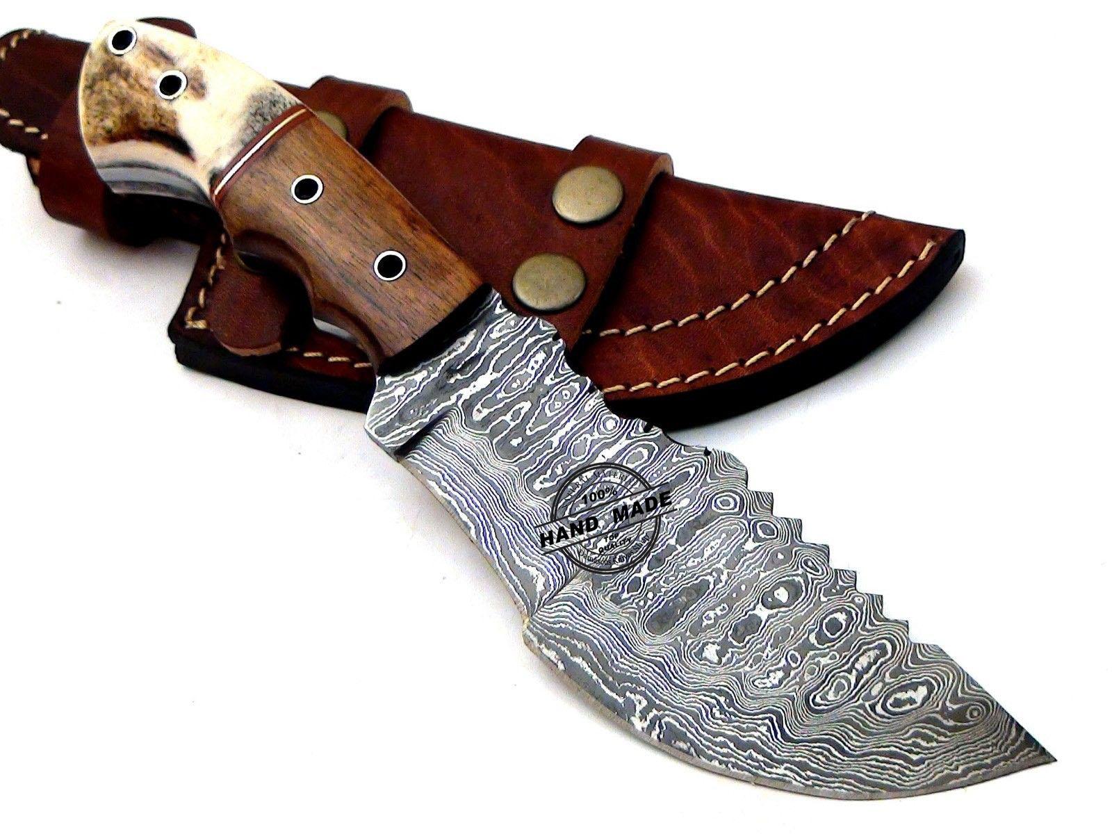New Damascus Tracker Knife Custom Handmade Damascus Steel