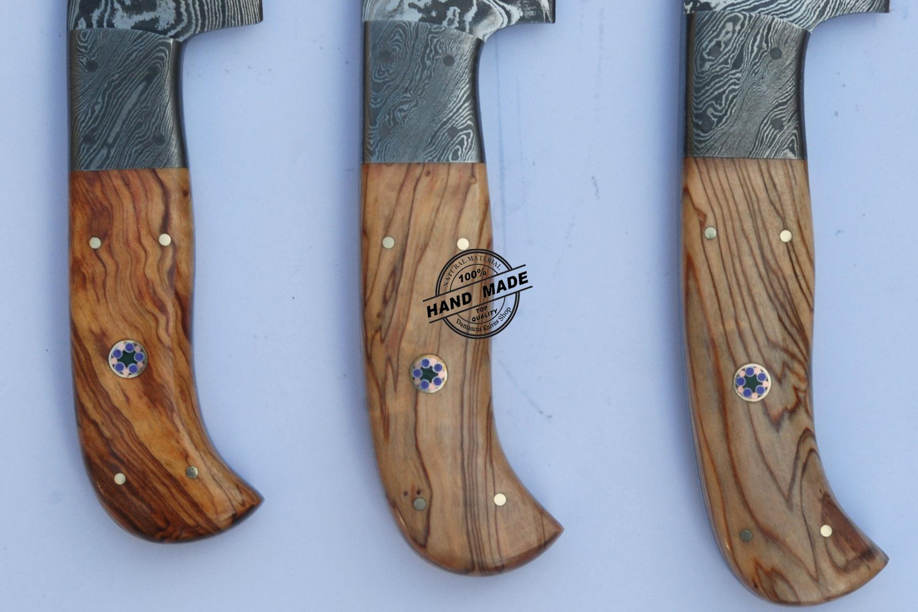 lot of 3 pcs professional chef knife custom handmade damascus ontario knife rat m1 folding pocket knife serrated edge 8849