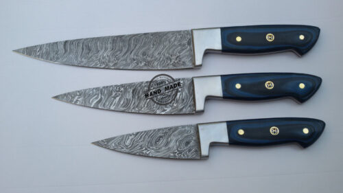 Lot Of 3 PCs Damascus Kitchen Chef's Knife Custom Handmade Damascus Steel Kitchen Professional Chef's Knife With Colored Wood Handle Leather Sheaths 1566
