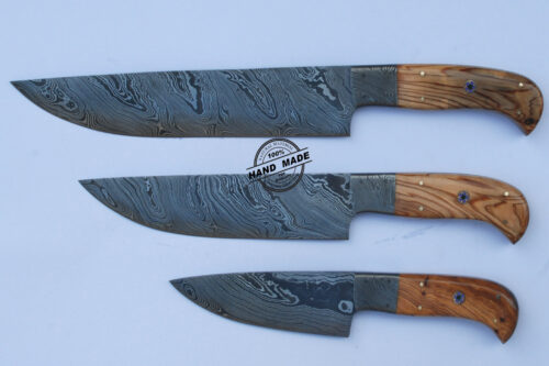 Lot Of 3 PCs Professional Chef Knife Custom Handmade Damascus Steel Kitchen Chef's Knife With Olive Wood Handle Leather Sheaths 1565