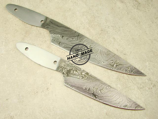 Lot Of 2 PCs Professional Chef Knife Blank Blade Custom Handmade Damascus  Steel Professional Kitchen Blank Blade Knife 1471