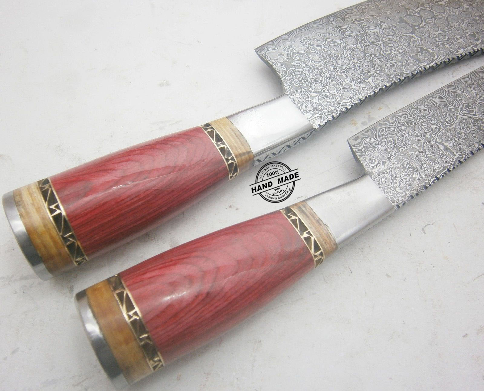 lot of 2 pcs damascus kitchen knife custom handmade damascus steel