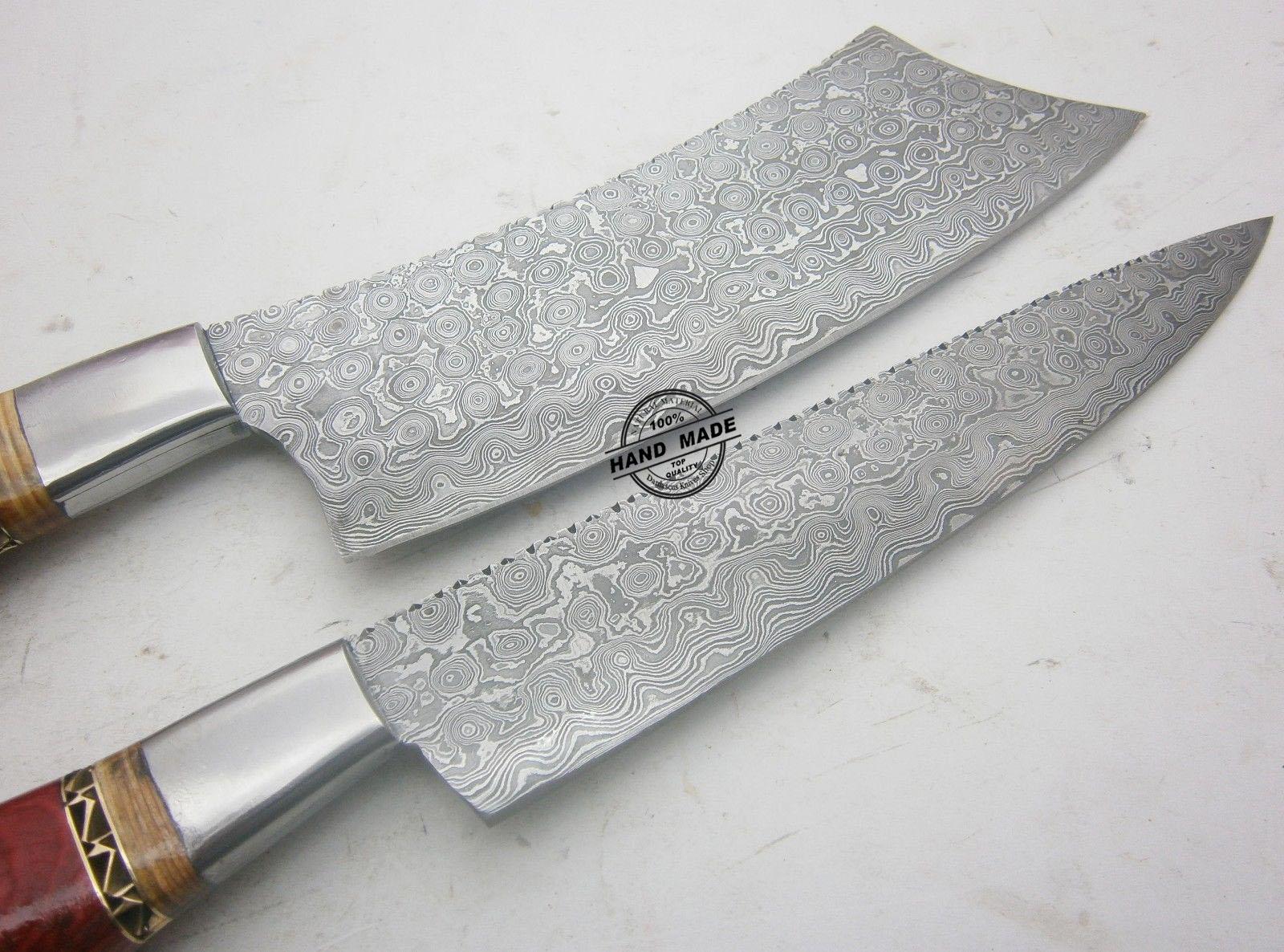 lot of 2 pcs damascus kitchen knife. Black Bedroom Furniture Sets. Home Design Ideas