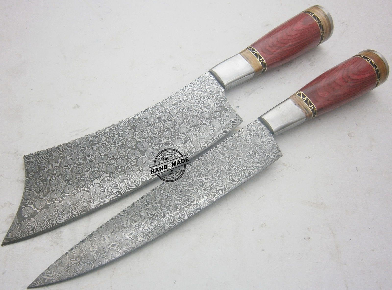 chef kitchen knives lot of 2 pcs damascus kitchen knife custom handmade