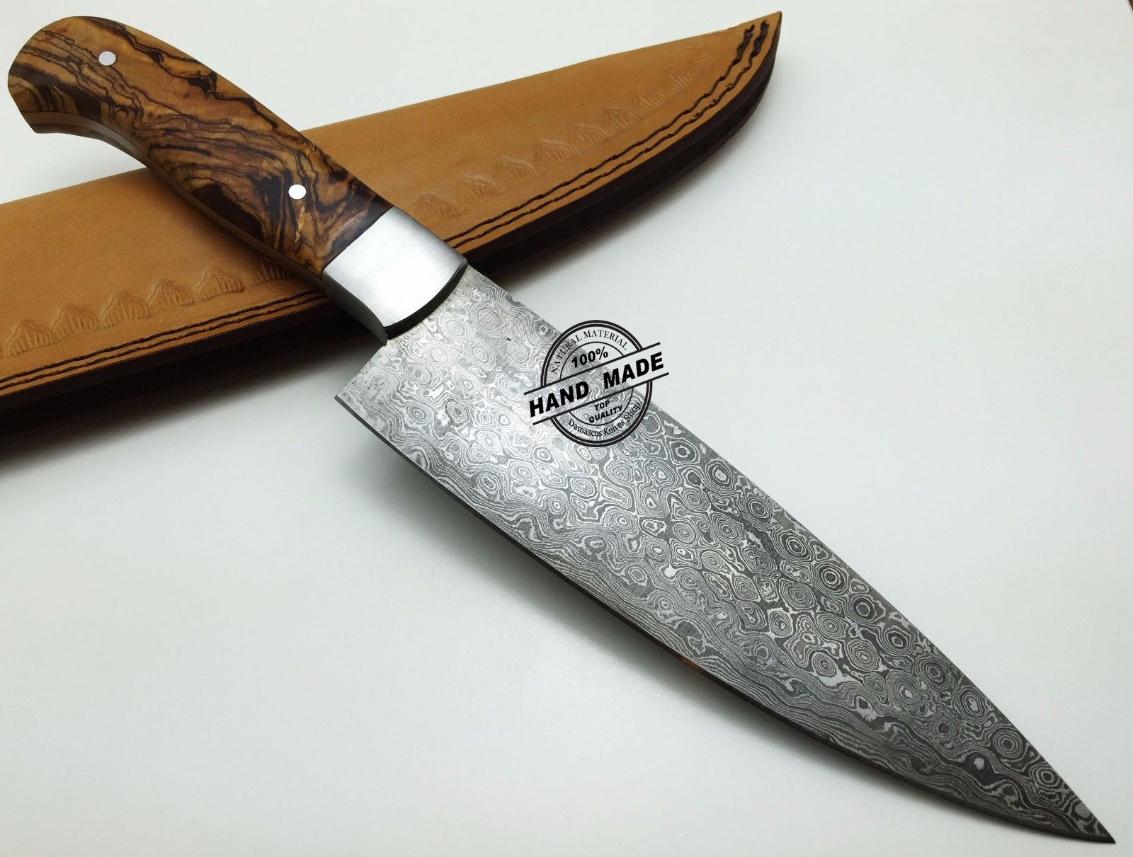 Regular Damascus Kitchen Knife Custom Handmade Damascus Steel Kitchen Chefs  Knife With Rose Wood Handle Leather Sheaths 1569