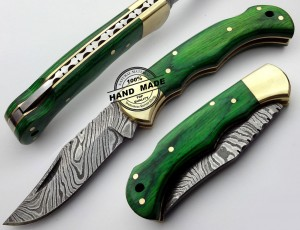 Damascus Folding Back Lock Knives