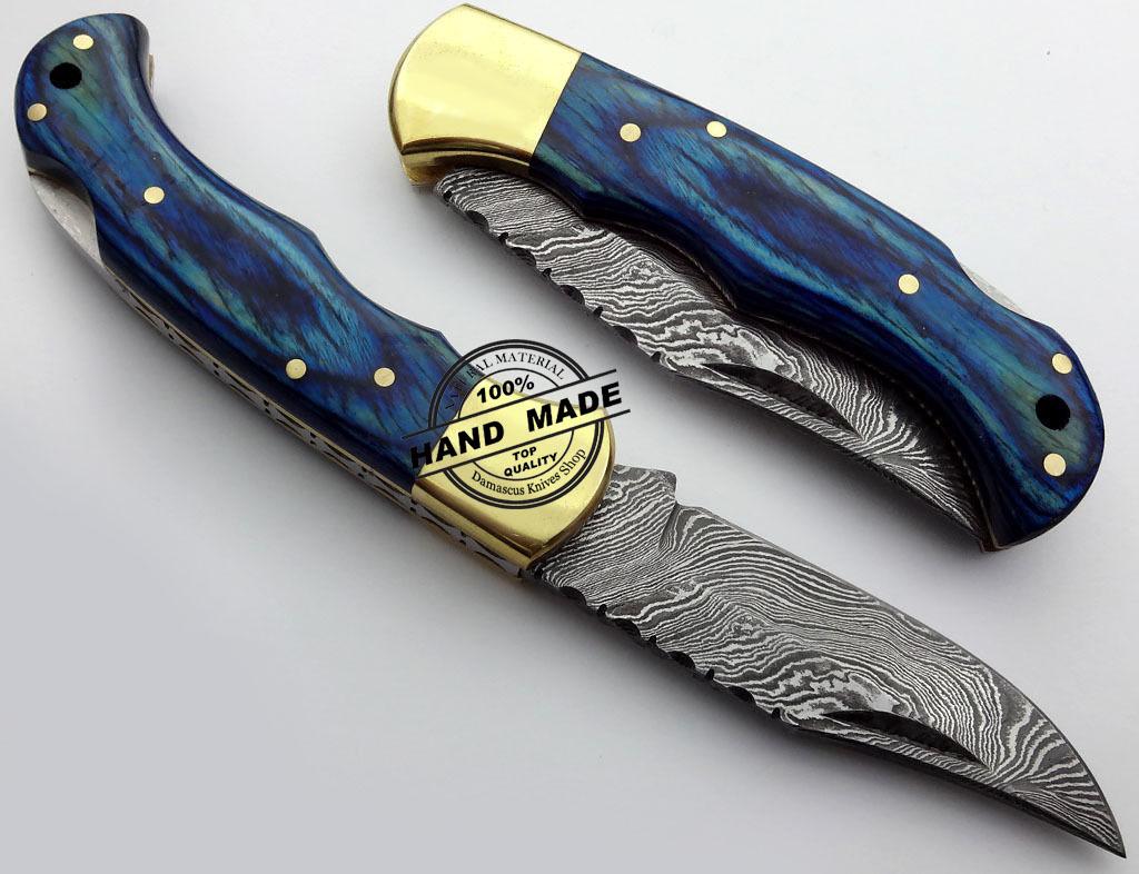 Damascus Folding Back Lock Knife Custom Handmade Damascus ...