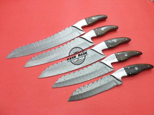 Damascus Kitchen Knives 5 PCs Set 01