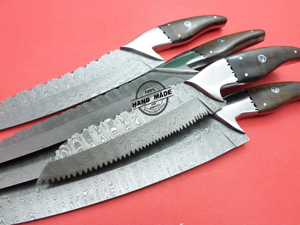 Damascus Kitchen Knives 5 Pcs Set Custom Handmade Damascus