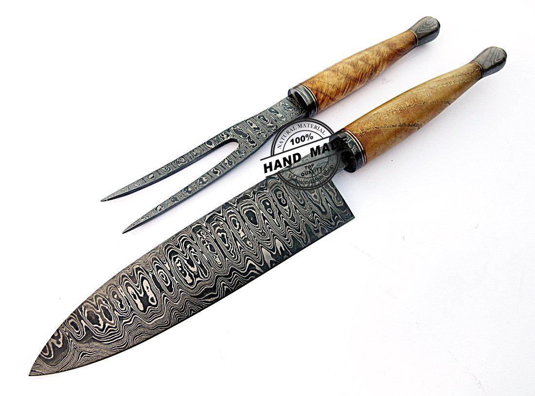 Damascus Chef Knives Set Custom Handmade Damascus Steel