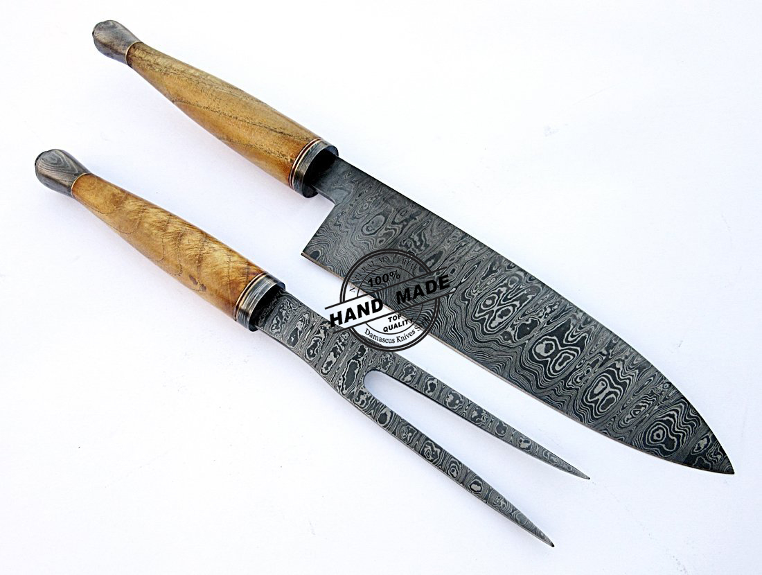 Damascus chef knives set custom handmade damascus steel Unique kitchen knife sets