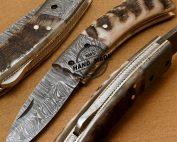 Back Lock Damascus Folding Knife