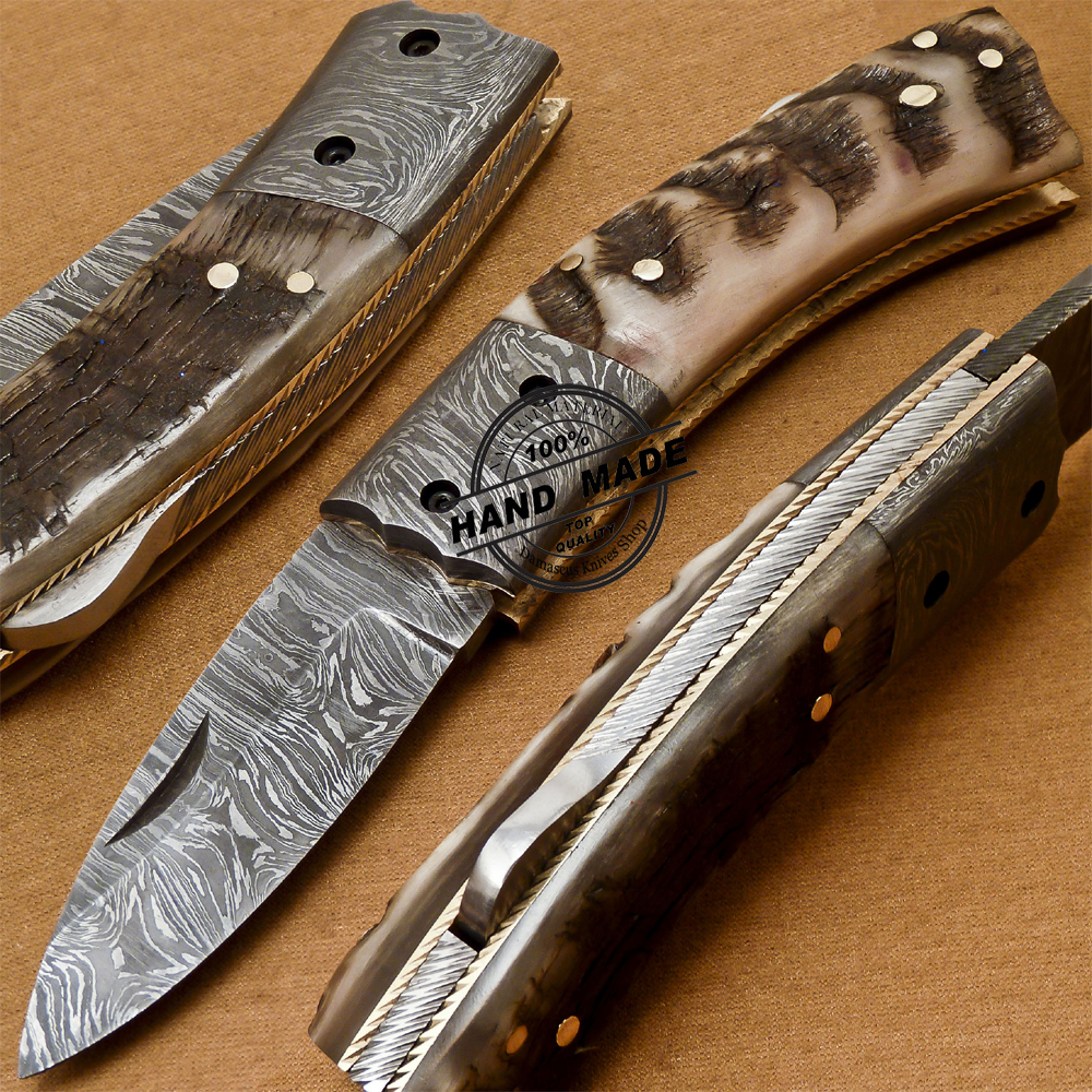 Back Lock Damascus Folding Knife