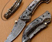 Damascus Folding Liner Lock Knife