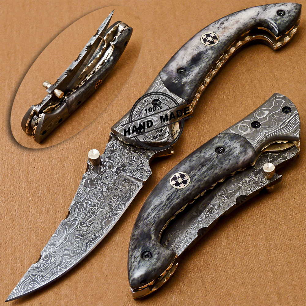 Damascus Folding Liner Lock Knife